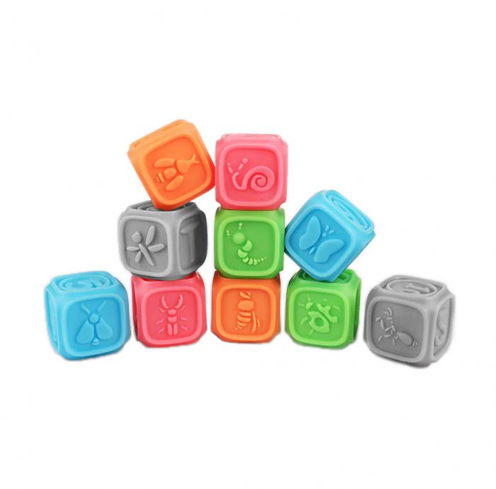 Set 10 cuburi educative din silicon Tumama®, cu modele 3D, pentru dentitia copiilor, multicolor 0