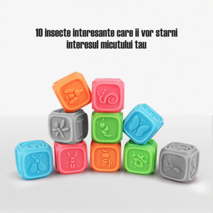 Set 10 cuburi educative din silicon Tumama®, cu modele 3D, pentru dentitia copiilor, multicolor 2