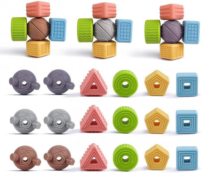 Set 18 piese forme geometrice din silicon, cu snur, +3 ani, fara BPA, Tumama®, multicolor [1]