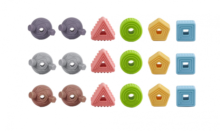 Set 18 piese forme geometrice din silicon, cu snur, +3 ani, fara BPA, Tumama®, multicolor [0]