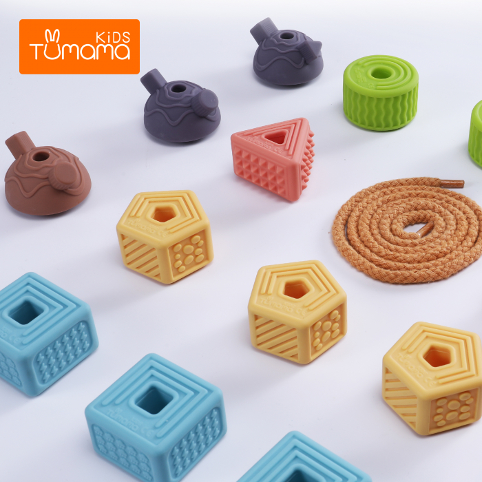 Set 18 piese forme geometrice din silicon, cu snur, +3 ani, fara BPA, Tumama®, multicolor [6]