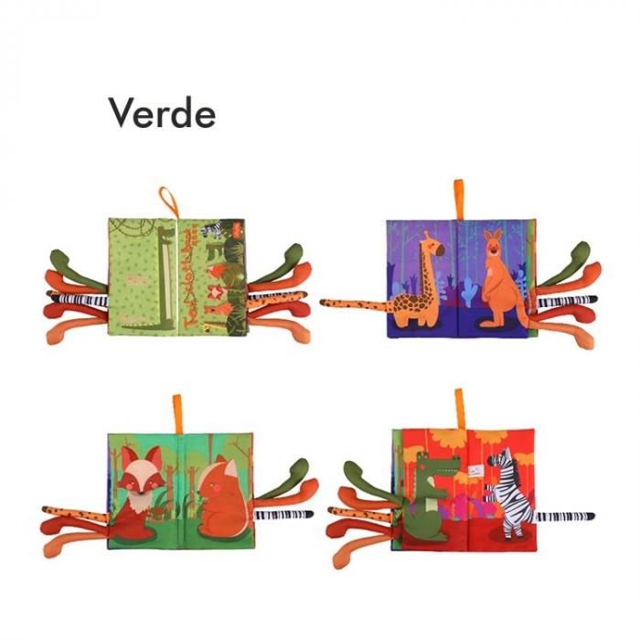Set 2 carti fosnitoare Animal's Tails, 6 animalute colorate, pentru dentitia copiilor si a bebelusilor, Tumama®, galben si verde 3