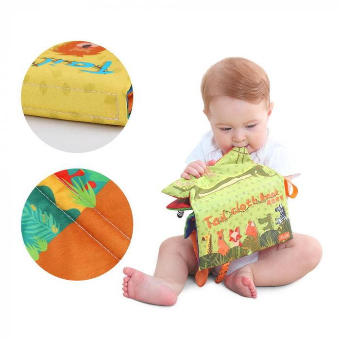 Set 2 carti fosnitoare Animal's Tails, 6 animalute colorate, pentru dentitia copiilor si a bebelusilor, Tumama®, galben si verde 1