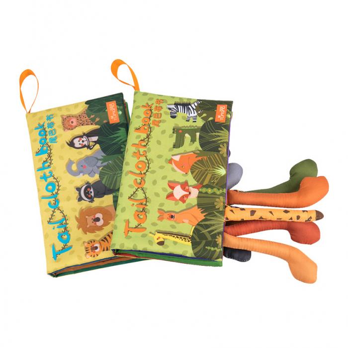 Set 2 carti fosnitoare Animal's Tails, 6 animalute colorate, pentru dentitia copiilor si a bebelusilor, Tumama®, galben si verde 0