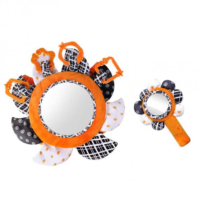 Set 2 jucarii zornaitoare pentru copii si bebelusi, cu oglinzi acrilice, +0 luni, Tumama®, alb/negru [0]