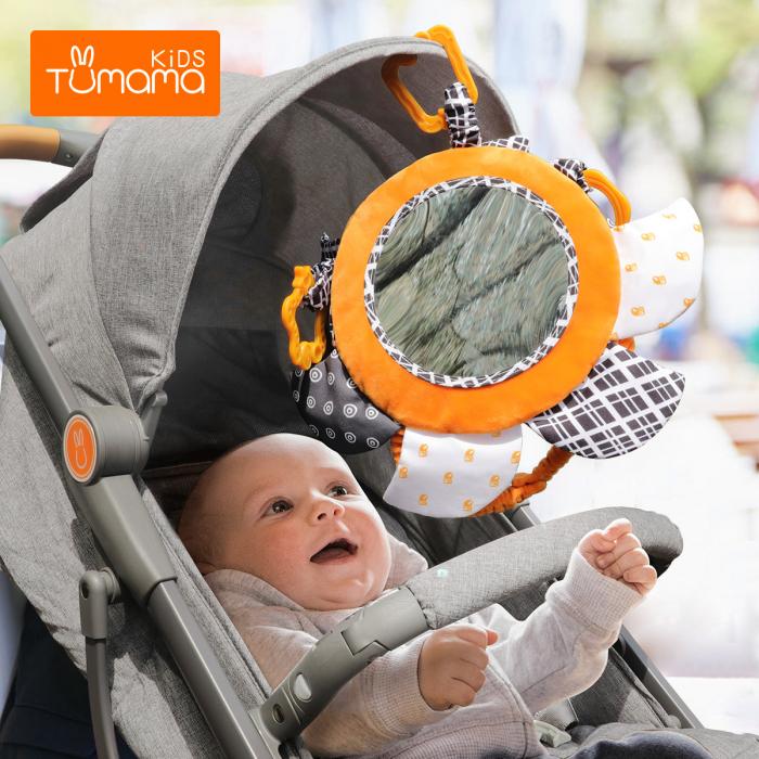 Set 2 jucarii zornaitoare pentru copii si bebelusi, cu oglinzi acrilice, +0 luni, Tumama®, alb/negru [5]