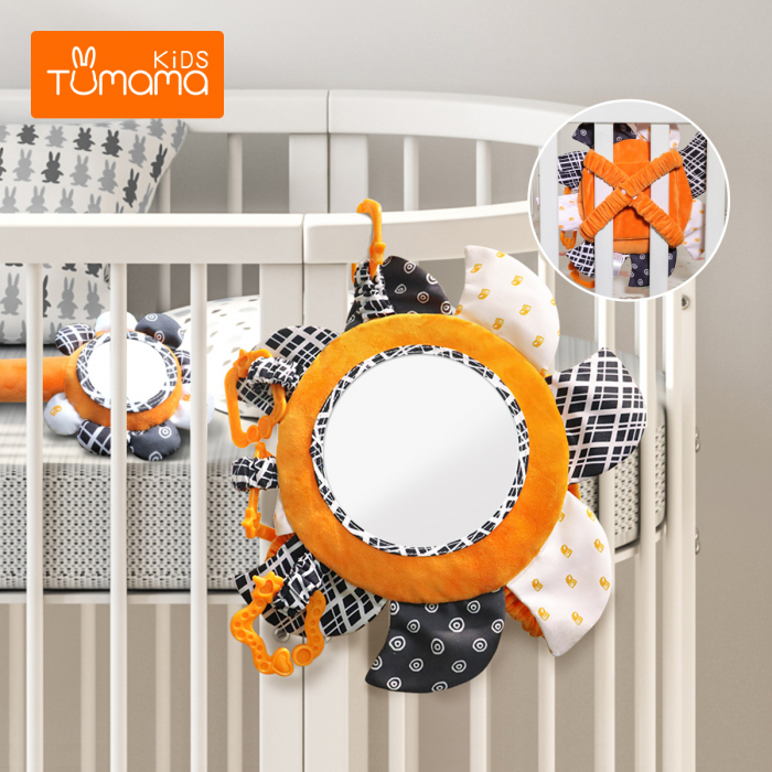 Set 2 jucarii zornaitoare pentru copii si bebelusi, cu oglinzi acrilice, +0 luni, Tumama®, alb/negru [2]