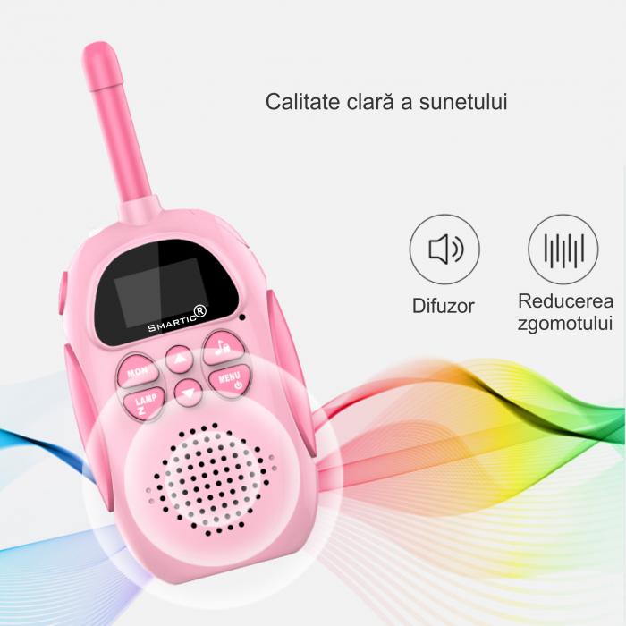Set 2 statii Walkie Talkies pentru copii, Antena si Lanterna, Raza de Actiune 3 km, functia VOX, Plastic, Varsta Recomandata +3 ani, Smartic®, albastru/roz [1]