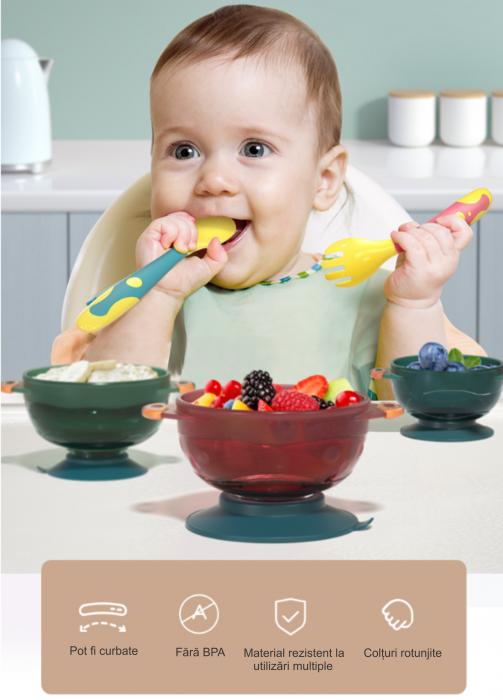 Set 2 tacamuri pentru bebelusi, fara BPA, din silicon, +6 luni, Tumama®, multicolor [7]