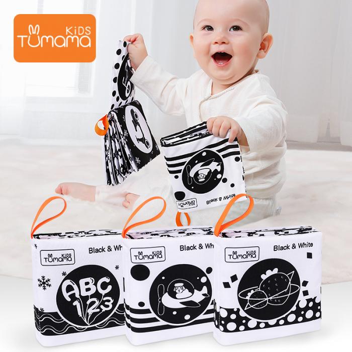 Set 3 Carti Fosnitoare, Educationale, Ilustratii Litere, Vehicule, Fructe, pentru dentitia bebelusilor, + 3 luni, Tumama®, alb/negru [2]