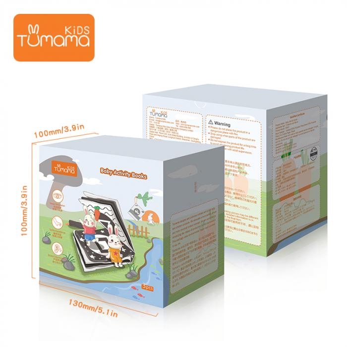 Set 3 Carti Fosnitoare, Educationale, Ilustratii Litere, Vehicule, Fructe, pentru dentitia bebelusilor, + 3 luni, Tumama®, alb/negru [6]