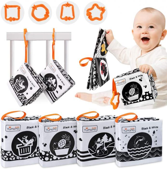 Set 4 Carti Fosnitoare, Educationale, pentru dentitia bebelusilor, Ilustratii Animale, Fructe, Legume, Animale Marine, + 3 luni, Tumama®, alb/negru [4]