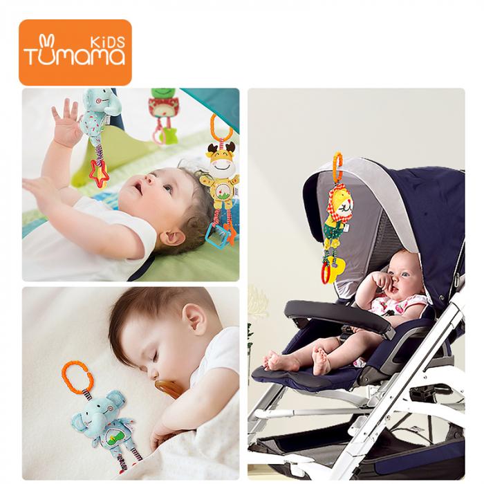 Set 4 Jucarii Agatatoare din Plus, pentru Bebelusi si Copii, Model Animale, Varsta +0 luni, Tumama®, multicolor [3]