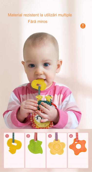 Set 4 Jucarii Agatatoare din Plus, pentru Bebelusi si Copii, Model Animale, Varsta +0 luni, Tumama®, multicolor [7]
