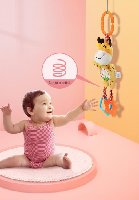 Set 4 Jucarii Agatatoare din Plus, pentru Bebelusi si Copii, Model Animale, Varsta +0 luni, Tumama®, multicolor [8]