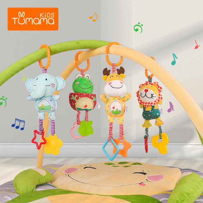 Set 4 Jucarii Agatatoare din Plus, pentru Bebelusi si Copii, Model Animale, Varsta +0 luni, Tumama®, multicolor [4]
