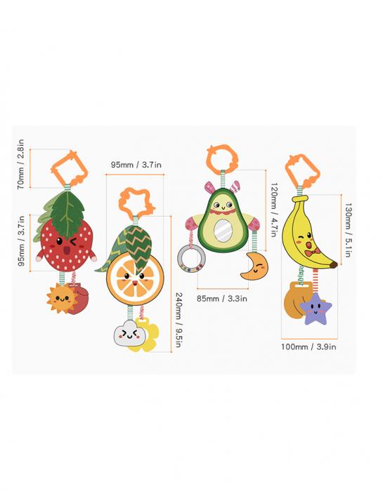 Set 4 jucarii din plus pentru bebelusi si copii, agatatoare, model fructe, Tumama®, multicolor [3]