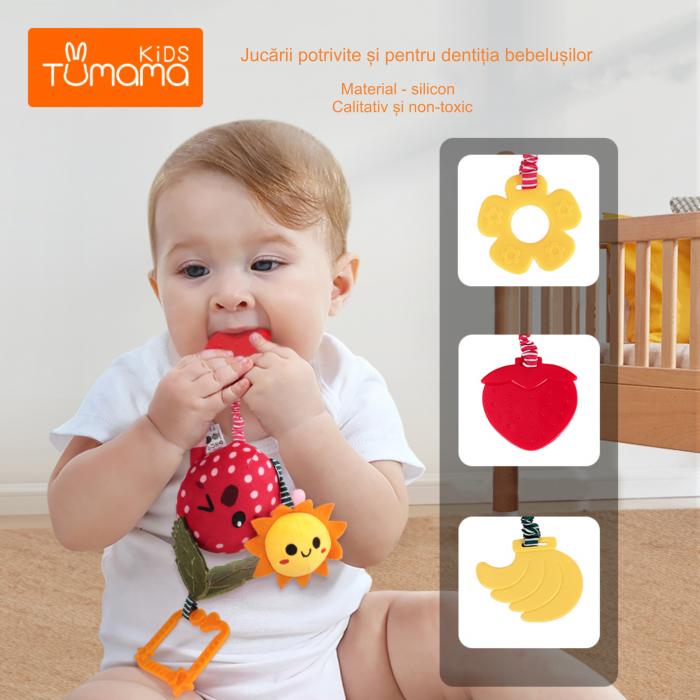 Set 4 jucarii din plus pentru bebelusi si copii, agatatoare, model fructe, Tumama®, multicolor [5]