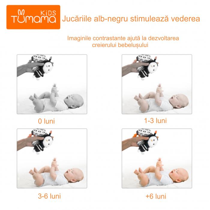 Set 4 jucarii interactive, zornaitoare, agatatoare, Design Animale, varsta +0 luni, Tumama®, alb/negru [8]