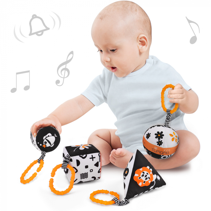 Set 4 jucarii zornaitoare pentru bebelusi, Forme Geometrice, varsta +3 luni, Tumama®, alb/negru [2]