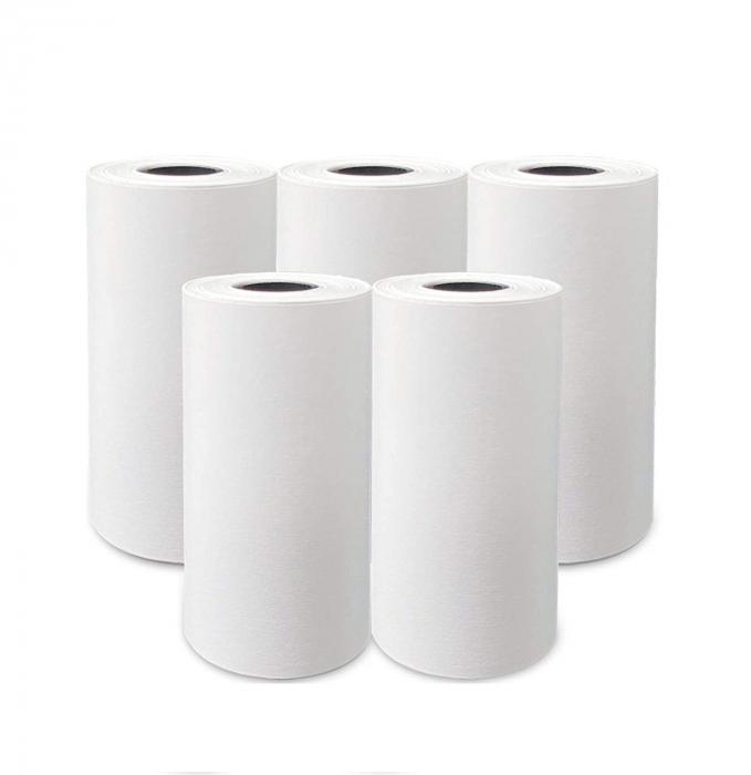 Set 5 role rezerva din hartie termica, compatibile cu Aparat Foto Instant, 55x25 mm, Smartic®, alb [0]