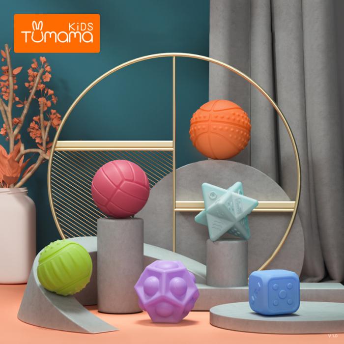 Set 6 piese forme geometrice, Mingi din silicon, Tumama® 7