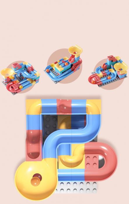 Set blocuri constructie pentru copii, Labirintul Interactiv, +3 ani, 69 piese, material plastic,Tumama®, multicolor [3]
