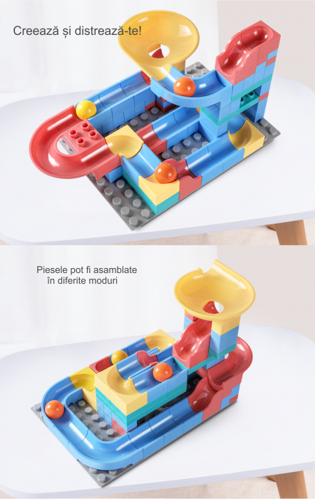 Set blocuri constructie pentru copii, Labirintul Interactiv, +3 ani, 69 piese, material plastic,Tumama®, multicolor [5]