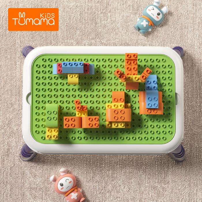 Set blocuri de constructie cu masuta, 150 piese, varsta +3 ani, Tumama®, multicolor [2]