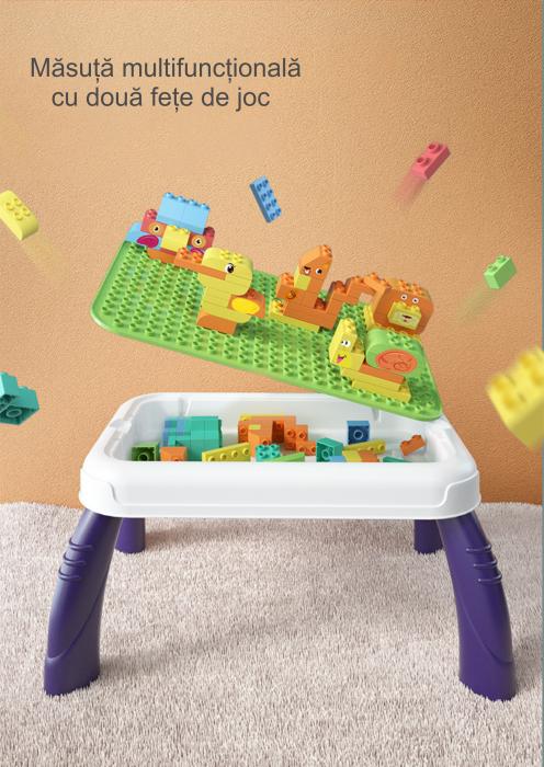 Set blocuri de constructie cu masuta, 150 piese, varsta +3 ani, Tumama®, multicolor [4]