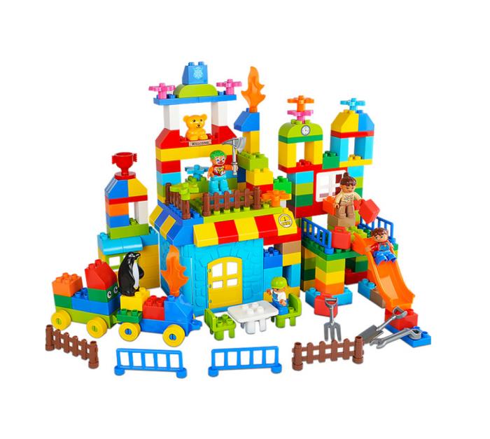 """Set blocuri de constructie """"Parcul distractiei"""", multiple activitati, 160 piese, Tumama®, multicolor 0"""