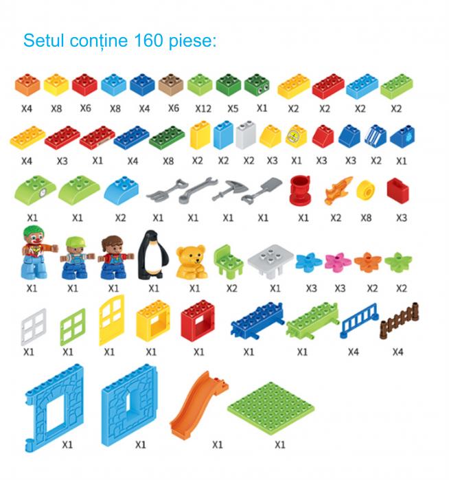 """Set blocuri de constructie """"Parcul distractiei"""", multiple activitati, 160 piese, Tumama®, multicolor 8"""