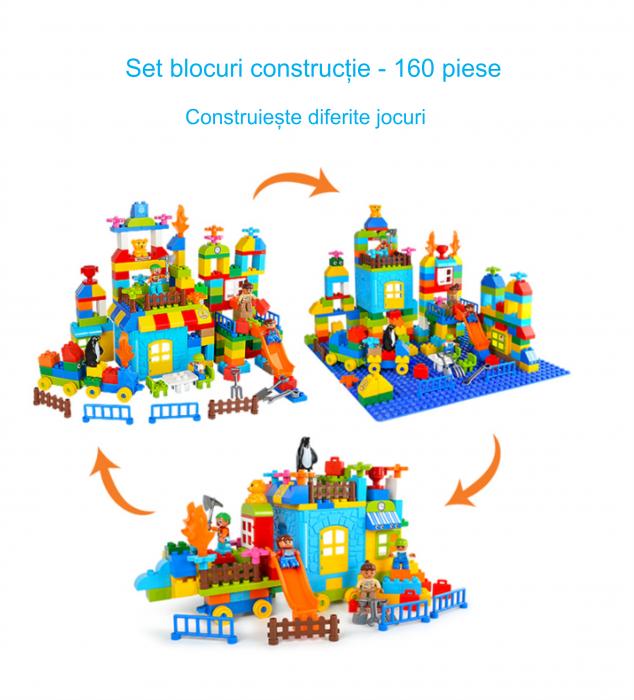 """Set blocuri de constructie """"Parcul distractiei"""", multiple activitati, 160 piese, Tumama®, multicolor 7"""