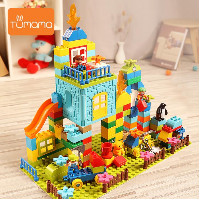 """Set blocuri de constructie """"Parcul distractiei"""", multiple activitati, 160 piese, Tumama®, multicolor 3"""