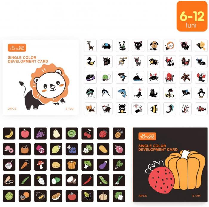 Set cartonase asociere 2 in 1 Tumama® pentru bebelusi si copii, Material Carton,Ilustratii animale, fructe, legume, 40 piese, alb/negru [1]
