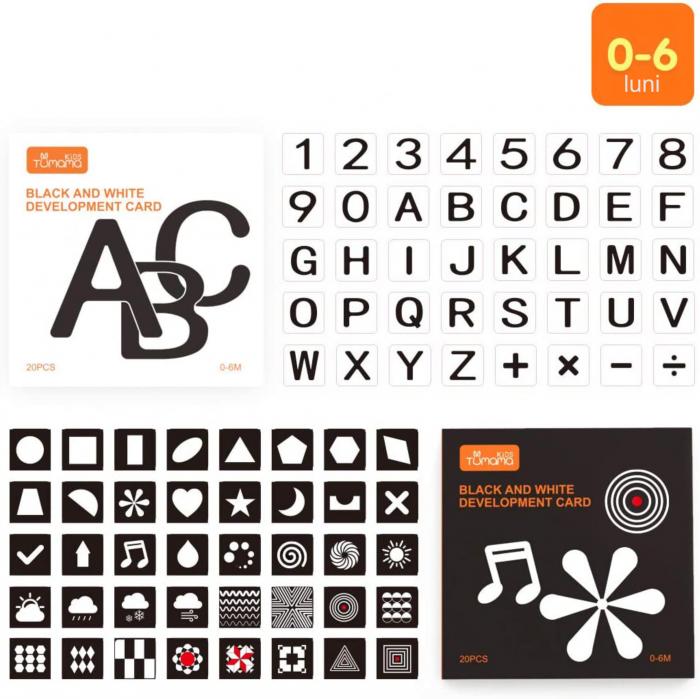 Set cartonase asociere 2 in 1 Tumama® pentru bebelusi si copii, Material Carton, Ilustratii litere, cifre, forme geometrice, 40 piese, alb/negru [1]