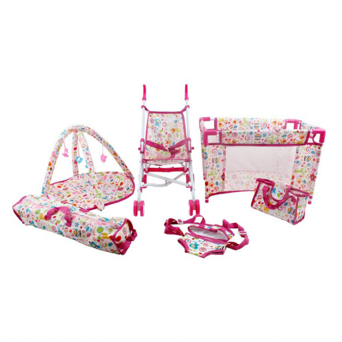Set copii interactiv cu papusa bebelus si accesorii: tarc, carucior, suport bebe, geanta, covoras, SMARTIC®, multicolor 0