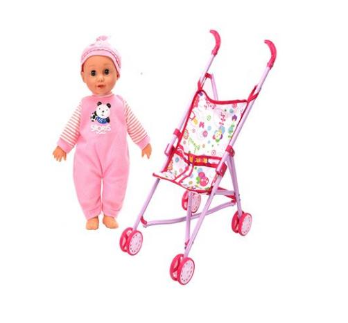 Set copii interactiv cu papusa bebelus si accesorii: tarc, carucior, suport bebe, geanta, covoras, SMARTIC®, multicolor 6