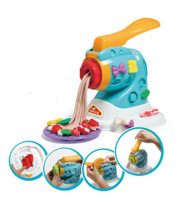 Set copii Masina de facut paste cu plastilina si accesorii, SMARTIC®, multicolor 0
