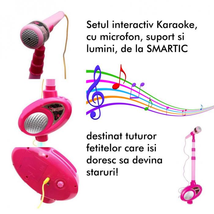 Set interactiv Karaoke, cu microfon, suport si lumini, SMARTIC®, melodii incluse 3