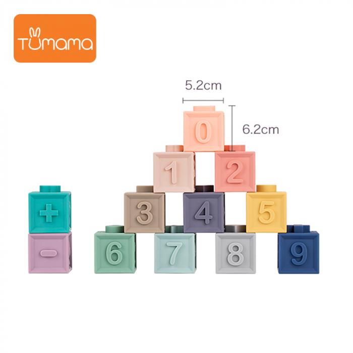 Set jucarii interactive si educative din silicon, Cuburi 12 piese, pentru dentitia bebelusilor, varsta +3 luni, Tumama®, multicolor [4]