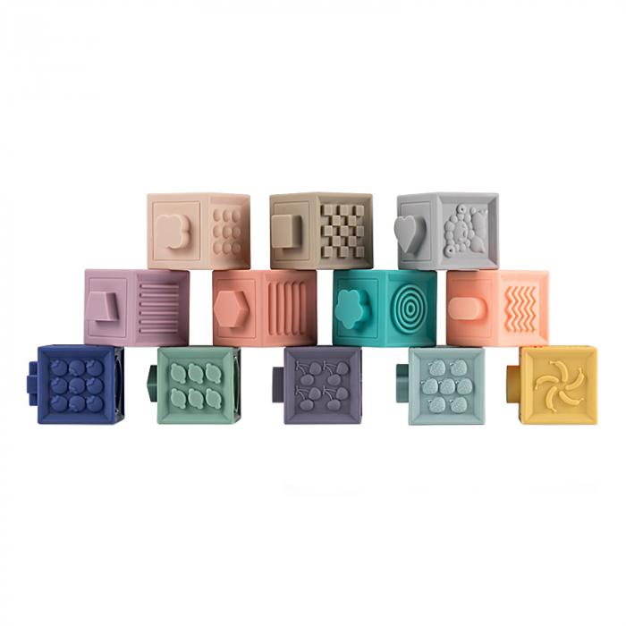 Set jucarii interactive si educative din silicon, Cuburi 12 piese, pentru dentitia bebelusilor, varsta +3 luni, Tumama®, multicolor [0]