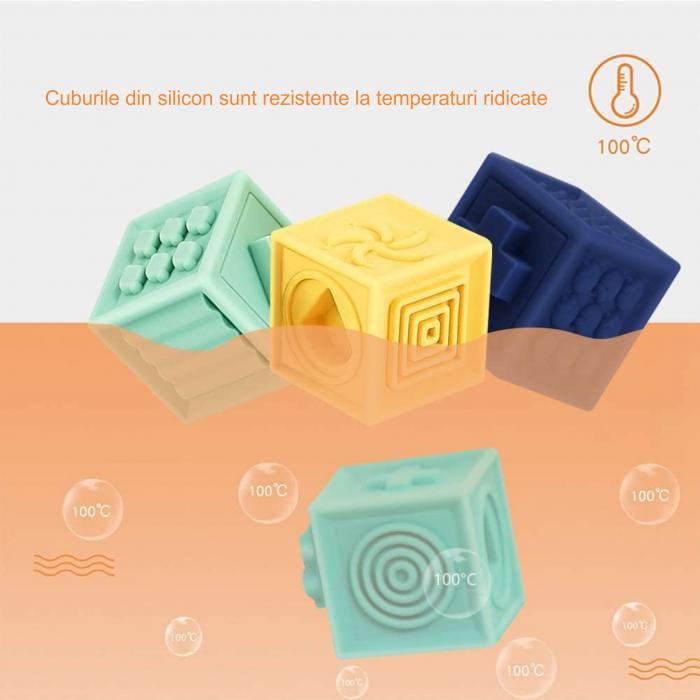 Set jucarii interactive si educative din silicon, Cuburi 12 piese, pentru dentitia bebelusilor, varsta +3 luni, Tumama®, multicolor [9]