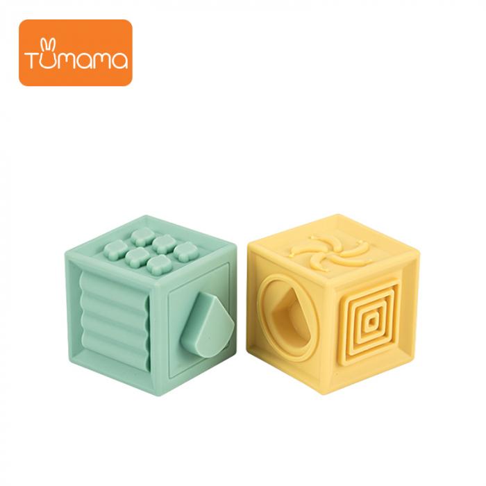 Set jucarii interactive si educative din silicon, Cuburi 12 piese, pentru dentitia bebelusilor, varsta +3 luni, Tumama®, multicolor [1]