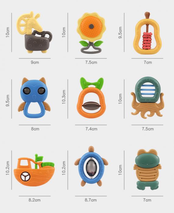 Set jucarii zornaitoare pentru bebelusi, diferite forme, 10 bucati, plastic fara BPA + silicon, Tumama®, multicolor [6]