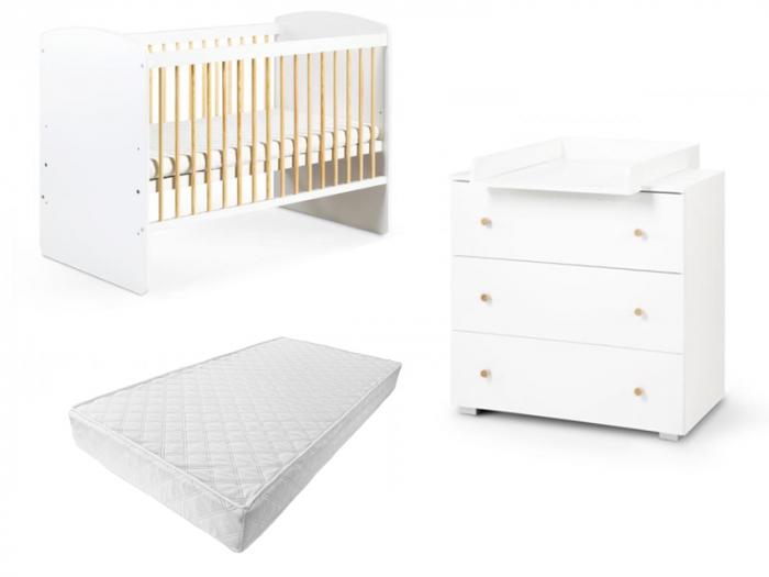 Set mobilier 3 piese Patut, Comoda si Saltea pentru camera copiilor si bebelusilor, alb [0]