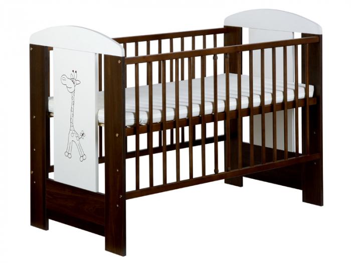 Set mobilier 3 piese Patut, Comoda si Saltea pentru camera copiilor si bebelusilor, Design Girafa, Culoare wenge [1]