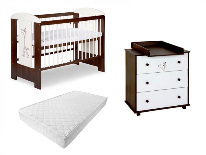 Set mobilier 3 piese Patut, Comoda si Saltea pentru camera copiilor si bebelusilor, Design Girafa, Culoare wenge [0]