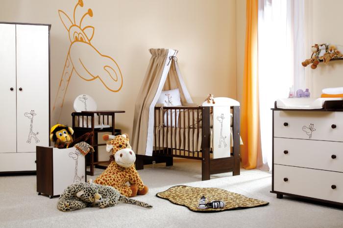 Set mobilier 3 piese Patut, Comoda si Saltea pentru camera copiilor si bebelusilor, Design Girafa, Culoare wenge [6]