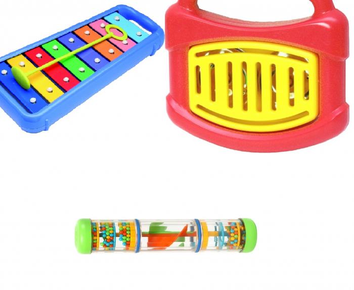 Set muzical xilofon,zornaitoare mini rainbomaker si zornaitoare clopotel pentru bebelusi [2]